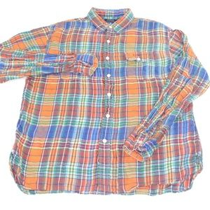 Polo Ralph Lauren Orange  Plaid Soft Cotton Shirt